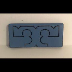 Tory Burch Serif Leather Blue Montego Clutch